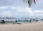 Tour boats lined up before storm in Mexican resort town