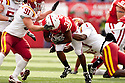 24 October 2009: Nebraska wide receiver Marcus Mendoza being stopped by Iowa State cornerback David Sims at Memorial Stadium, Lincoln, Nebraska. Iowa State defeated Nebraska 9 to 7.