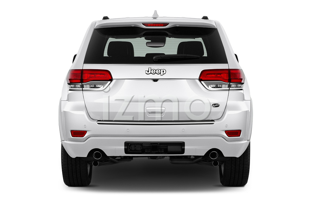 Straight rear view of a 2017 Jeep Grand Cherokee Overland 5 Door SUV stock images