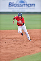 Elizabethton Twins right fielder Alex Kirilloff (30) runs to third base during a game against the Bristol Pirates at Joe O'Brien Field on July 30, 2016 in Elizabethton, Tennessee. The Twins defeated the Pirates 6-3. (Tony Farlow/Four Seam Images)