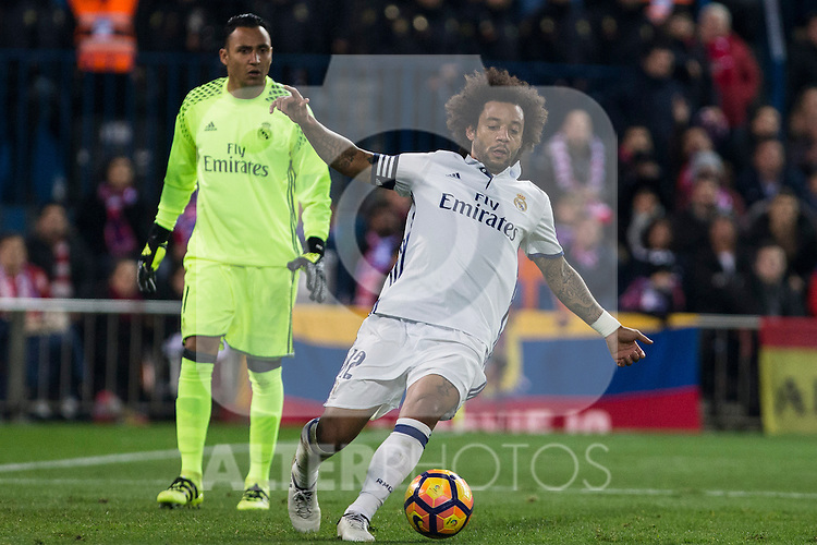 Real Madrid's Keylor Navas Marcelo Vieira during the match of La Liga between Atletico de Madrid and Real Madrid at Vicente Calderon Stadium  in Madrid , Spain. November 19, 2016. (ALTERPHOTOS/Rodrigo Jimenez)