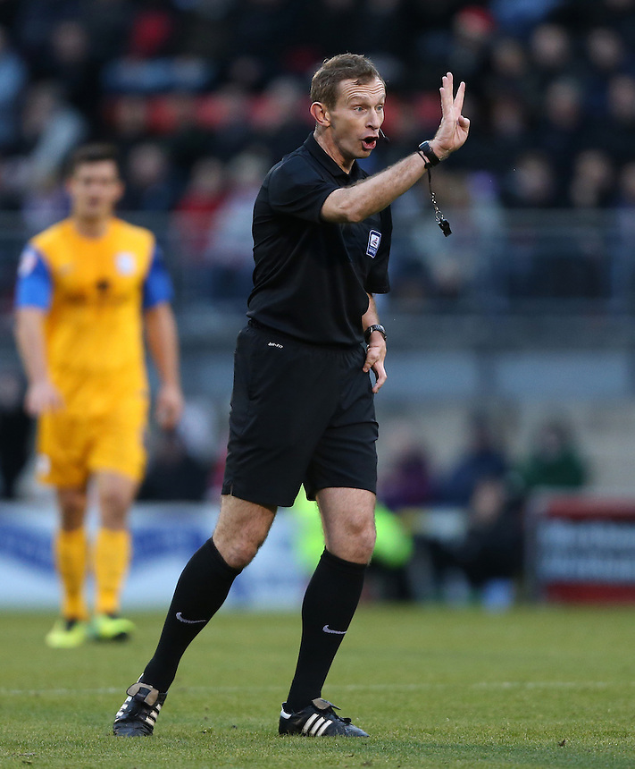 The matchday referee Keith Hill<br /> <br /> Photo by Rob Newell/CameraSport<br /> <br /> Football - The Football League Sky Bet League One - Leyton Orient v Preston North End - Saturday 16th November 2013 - Matchroom Stadium - London<br /> <br /> &copy; CameraSport - 43 Linden Ave. Countesthorpe. Leicester. England. LE8 5PG - Tel: +44 (0) 116 277 4147 - admin@camerasport.com - www.camerasport.com