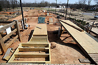 NWA Democrat-Gazette/DAVID GOTTSCHALK New jumps are under construction Friday, March 9, 2018, at the Railyard in Rogers. Located near downtown Rogers, the park received it's name   because of it's proximity to the Arkansas Missouri Railroad and the use of repurposed train and track parts.