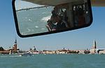 Canale di San Marco, Venice Italy 2009.  San Giorgio, Santa Maria della Salute, Campanile San Marco. Tourists using a Vaporetto. ( water bus )