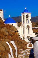 Greek Orthodox Chapels and Church on Chora hill (Hora), Ios, Cyclades Islands, Greece.