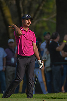 Shubhankar Sharma (IND) watches his approach shot on 18  during round 3 of the World Golf Championships, Mexico, Club De Golf Chapultepec, Mexico City, Mexico. 3/3/2018.<br /> Picture: Golffile | Ken Murray<br /> <br /> <br /> All photo usage must carry mandatory copyright credit (&copy; Golffile | Ken Murray)