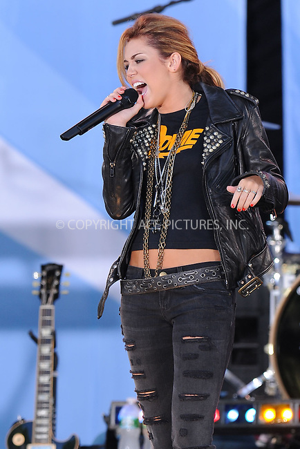 WWW.ACEPIXS.COM . . . . . .June 18 2010, New York City.... Miley Cyrus performs on ABC's 'Good Morning America' at Rumsey Playfield, Central Park on June 18, 2010 in New York City...Please byline: KRISTIN CALLAHAN - ACEPIXS.COM.. . . . . . ..Ace Pictures, Inc: ..tel: (212) 243 8787 or (646) 769 0430..e-mail: info@acepixs.com..web: http://www.acepixs.com .
