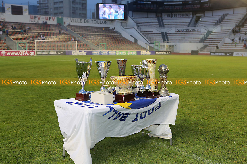 The various trophies awarded for individual and team performances were displayed on a table prior to the presentations - France Under-20 vs Morocco Under-20 - 2015 Toulon Tournament Final Football at Stade Mayol, Toulon, France - 07/06/15 - MANDATORY CREDIT: Paul Dennis/TGSPHOTO - Self billing applies where appropriate - contact@tgsphoto.co.uk - NO UNPAID USE
