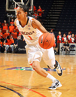 Dec. 18, 2010; Charlottesville, VA, USA; Virginia Cavaliers guard China Crosby (1) dribbles the ball during the game against the UMBC Retrievers at the John Paul Jones Arena. Virginia won 61-46. Mandatory Credit: Andrew Shurtleff-