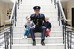 23/7/2015.    Graduating from the Garda College in Templemore this Thursday were graduating GardaDiarmuid Byrne, Clonmel stationed in Enniscorthy with his sons Milo(5) and Isaac(2).<br /> Photograph Liam Burke/Press 22