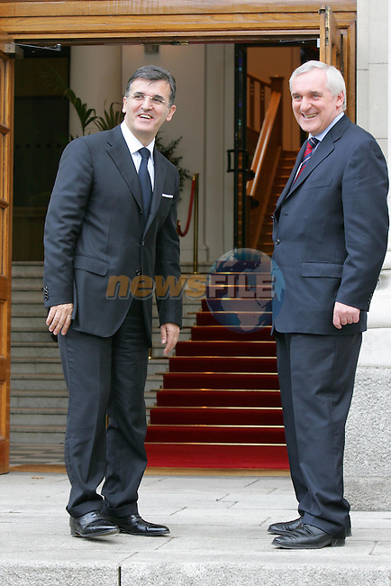Dublin Ireland, President of Serbia and Montenegro, Svetozar Marovic Left with Irish Prime Minister Bertie Ahern TD. meeting at Government Buildings dring his two day visit to Ireland 20/6/05.Photo AFP/NEWSFILE/FRAN CAFFREY..(Photo credit should read AFP PHOTO FRAN CAFFREY/NEWSFILE)...This Picture has been sent you under the condtions enclosed by:.Newsfile Ltd..the Studio,.Millmount Abbey,.Drogheda,.Co Meath..Ireland..Tel: +353(0)41-9871240.Fax: +353(0)41-9871260.GSM: +353(0)86-2500958.email: pictures@newsfile.ie.www.newsfile.ie.FTP: 193.120.102.198..This picture is from Fran Caffrey@newsfile.ie