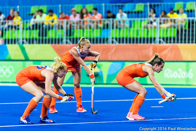 Netherlands short corner battery sets up during Netherlands vs Korea in a Pool A game at the Rio 2016 Olympics at the Olympic Hockey Centre in Rio de Janeiro, Brazil.