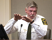 Major Charles Land of the Prince William County (Virginia) Adult Detention Center gestures as he testifies during the penalty phase of the trial of convicted sniper John Allen Muhammad in courtroom 10 at the Virginia Beach Circuit Court in Virginia Beach, Virginia on November 18, 2003.  John Muhammad was convicted of capital murder on November 17, 2003 for his role as organizer of a two-man sniper team that killed 10 people and terrorized the Washington, D.C. area in 2002. <br /> Credit: Dave Ellis - Pool via CNP