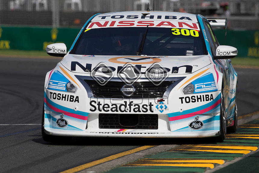 Michael Caruso of the Nissan Motorsport takes his first career pole during the Melbourne Grand Prix, Melbourne Grand Prix  2014 Australian V8 Supercars  at the Albert Park, Melbourne, Victoria, March 13, 2014.<br /> &copy; Sport the library / Mark Horsburgh