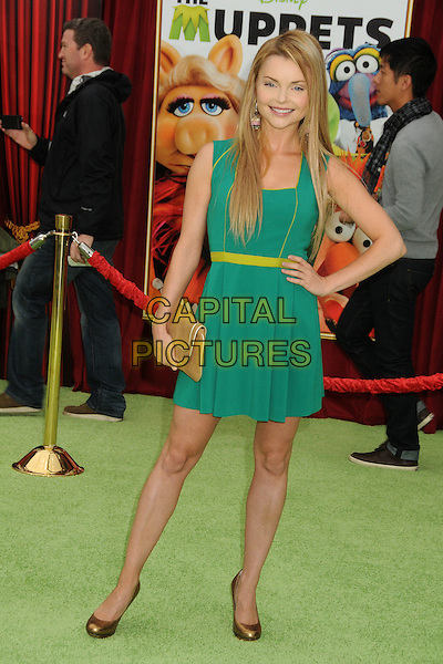 "Izabella Miko.""The Muppets"" Los Angeles Premiere held at the El Capitan Theatre, Hollywood, California, USA..November 12th, 2011.full length green dress hand on hip gold shoes clutch bag.CAP/ADM/BP.©Byron Purvis/AdMedia/Capital Pictures."