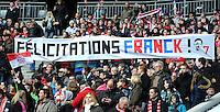 FUSSBALL   1. BUNDESLIGA  SAISON 2011/2012   29. Spieltag FC Bayern Muenchen - FC Augsburg       07.04.2012 Fans gratulieren Franck Ribery (FC Bayern Muenchen) mit einem Banner zum Geburtstag