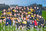 Dr Crokes captain Brian Looney celebrates capturing the O'Donoghue Cup after defeating Rathmore in the East Kerry final in Killarney on Sunday with his teammates and supporters Dr Crokes v Rathmore in the O'Donoghue Cup East Kerry final in Killarney on Saturday