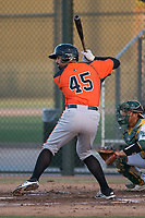 AZL Giants Orange third baseman Hector Santiago (45) at bat during an Arizona League game against the AZL Athletics at Lew Wolff Training Complex on June 25, 2018 in Mesa, Arizona. AZL Giants Orange defeated the AZL Athletics 7-5. (Zachary Lucy/Four Seam Images)
