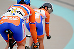 June 23, 2012:  The Netherland's, Yvonne Hijgenaar (7) and Willy Kanis (8), square off against each other during the women's match sprint competition at the U.S. Grand Prix of Sprinting, Seven Eleven Velodrome, Colorado Springs, CO.