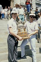 Patrick Roy attend  the Stanley Cup parade, June 20, 1986<br /> <br /> PHOTO : Stephane Fournier - Agence Quebec Presse