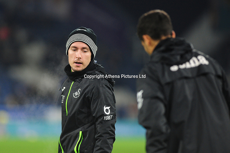 Barrie McKay of Swansea City during the pre-match warm-up for the Sky Bet Championship match between Huddersfield Town and Swansea City at The John Smith's Stadium in Huddersfield, England, UK. Tuesday 26 November 2019