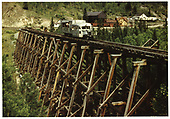 RGS Goose #4 on Bridge 45-A northbound out of Ophir.<br /> RGS  Ophir, CO  Taken by Koken, Richard - ca. 1951