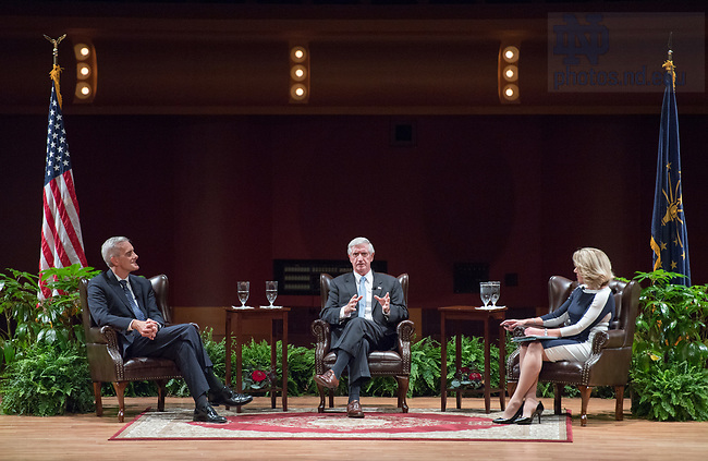 """October 4, 2017; Denis McDonough and Andrew Card, chiefs of staff to Presidents Barack Obama and George W. Bush, discuss U.S. foreign policy speak with moderator, Maura Policelli, executive director of the Keough School of Global Affairs' Global Policy Initiative, during the Notre Dame Forum: """"Views from the West Wing: How Global Trends Shape U.S. Foreign Policy"""" held in the Leighton Concert Hall of the DeBartolo Performing Arts Center. (Photo by Barbara Johnston/University of Notre Dame)"""
