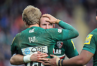Rob Hawkins celebrates with Matthew Tait after the latter's try. Aviva Premiership semi final, between Leicester Tigers and Harlequins on May 11, 2013 at Welford Road in Leicester, England. Photo by: Patrick Khachfe / Onside Images