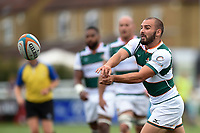 Jordan Burns of Ealing Trailfinders passes the ball. Pre-season friendly match, between Ealing Trailfinders and the Dragons on August 11, 2018 at the Trailfinders Sports Ground in London, England. Photo by: Patrick Khachfe / Onside Images