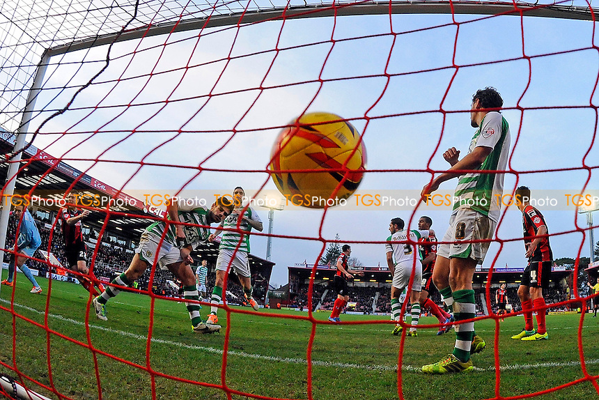 Elliott Ward of AFC Bournemouth left hits the net but the effort is disallowed - AFC Bournemouth vs Yeovil Town - Sky Bet Championship Football at the Goldsands Stadium, Bournemouth, Dorset - 26/12/13 - MANDATORY CREDIT: Denis Murphy/TGSPHOTO - Self billing applies where appropriate - 0845 094 6026 - contact@tgsphoto.co.uk - NO UNPAID USE