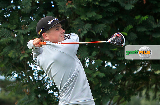 Darragh Smith (Castle) on the 15th tee during Round 3 of the 2016 Connacht U18 Boys Open, played at Galway Golf Club, Galway, Galway, Ireland. 07/07/2016. <br /> Picture: Thos Caffrey | Golffile<br /> <br /> All photos usage must carry mandatory copyright credit   (&copy; Golffile | Thos Caffrey)