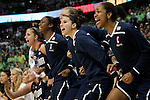 01 APRIL 2012:  The University of Connecticut bench erupts after tying the game against Notre Dame during the final seconds of regulation at the Division I Women's Final Four Semifinals at the Pepsi Center in Denver, CO.  Notre Dame defeated UCONN 83-75 to advance to the national championship game.  Jamie Schwaberow/NCAA Photos