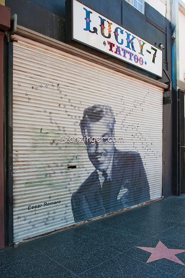 Cesar Romero, Painted, Portrait, Roll-up, Security, Door, Hollywood, CA, career, stage, screen, film ,Vertical image