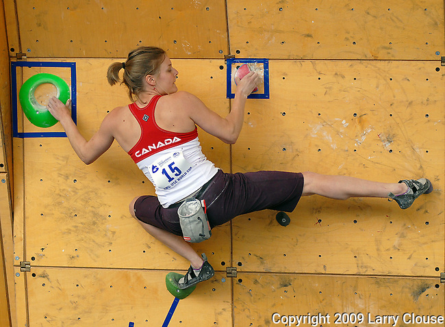 June 5, 2009:  Canada's Eva Pepin-Helie competes in the IFSC Bouldering World Cup at the Teva Mountain Games, Vail, Colorado.
