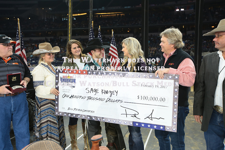 Sage Kimzey wins the Bull Riding during the RFDTV's The American. Photo by Andy Watson