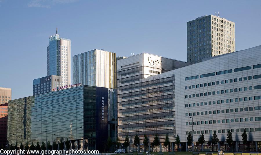 Early morning sunlight shining on modern buildings in Rotterdam, Netherlands
