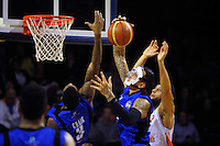 Leon Henry takes a rebound during the national basketball league match between Wellington Saints and Southland Sharks at TSB Bank Arena, Wellington, New Zealand on Monday, 1 June 2015. Photo: Dave Lintott / lintottphoto.co.nz