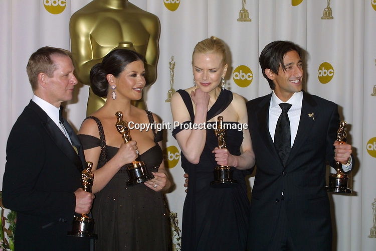 ©2003 KATHY HUTCHINS/ HUTCHINS PHOTO.75TH ANNUAL ACADEMY AWARDS.MARCH 23, 2003.HOLLYWOOD, CA.. CHRIS COOPER, CATHERINE ZETA-JONES , NICOLE KIDMAN, AND ADRIEN BRODY
