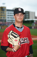 Birmingham Barons pitcher Jordan Guerrero (11) poses for a photo before a game against the Pensacola Blue Wahoos on May 2, 2016 at Regions Field in Birmingham, Alabama.  Pensacola defeated Birmingham 6-3.  (Mike Janes/Four Seam Images)