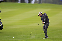 Ricardo Gouveia (POR) plays his 3rd shot on the 9th hole during a wet Saturday's Round 3 of the 2017 Omega European Masters held at Golf Club Crans-Sur-Sierre, Crans Montana, Switzerland. 9th September 2017.<br /> Picture: Eoin Clarke | Golffile<br /> <br /> <br /> All photos usage must carry mandatory copyright credit (&copy; Golffile | Eoin Clarke)
