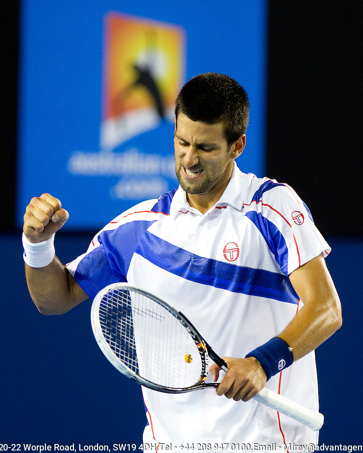 Novak Djokovic (SRB) (3) against Tomas Berdych (CZE) (6) in the Quarter Finals of the men's singles. Novak Djokovic beat Tomas Berdych 6-1 7-6 6-1..International Tennis - Australian Open  -  Melbourne Park - Melbourne - Day 9 - Tues 25th January 2011..© Frey - AMN Images, Level 1, Barry House, 20-22 Worple Road, London, SW19 4DH.Tel - +44 208 947 0100.Email - Mfrey@advantagemedianet.com.Web - www.amnimages.photshelter.com