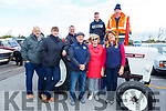 Ready for road on their Diavid Brown tractor at the Blennerville Trashing Festival on Sunday.<br /> Front l to r: Donal O'Riordan (Ballymac), Elaine O'Shea (Camp), Esther and George Glover (Castleisland), Kay Darmody (Faha) and Joan Glover with John and Sean Kerins and Denis Murphy on the tractor.