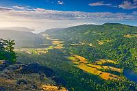 View of farmland from summit of Mount Maxwell. Mount Maxwell Park, Saltspring Island (Gulf Islands), British Columbia, Canada