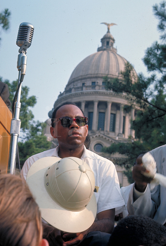 James Meredith March Through Mississippi, June 1966. James Meredith in front of Mississippi State Capitol at conclusion of march