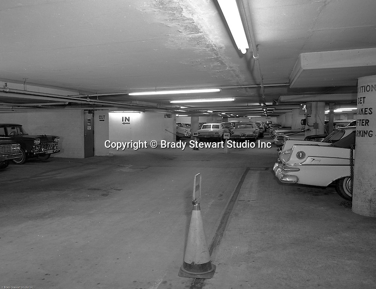 Pittsburgh PA:  View of the Mellon Square garage on Smithfield Street - 1964.<br /> View was part of an assignment for an insurance company after an accident inside the parking garage.