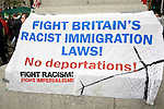 May Day march and rally at Trafalgar Square, May 1st, 2010 Immigration banner