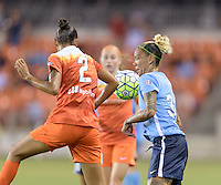 Tasha Kai (32) of Sky Blue FC attempts to control the ball in front of Poliana (2) of the Houston Dash on Friday, April 29, 2016 at BBVA Compass Stadium in Houston Texas. The Houston Dynamo and Sky Blue FC tied 0-0.
