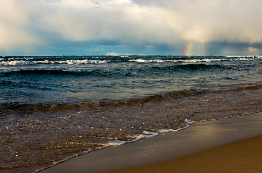 A colorful rainbow seen over Lake Superior on a mid-September evening. Marquette, MI