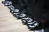 Pictured: The polished boots worn by the Welsh Guards parading through Castle Square in Swansea.  Friday 15 September 2017<br /> Re: Soldiers from the Welsh Guards have exercised their freedom to march through the streets of Swansea in Wales, UK.<br /> The Welsh warriors paraded with bayonets-fixed from the city centre to the Brangwyn Hall, where the Lord Mayor of Swansea took a salute.