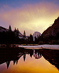 Half Dome reflects into the Merced River, Yosemite National Park, California